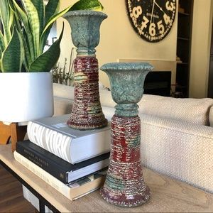 Terra Cotta Candle Holders Set of 2